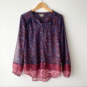 LUCKY BRAND Purple Sheer Floral Long Sleeve Top M